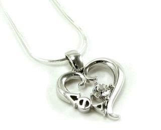 Lambda Theta Alpha Sterling Silver Heart Pendant with Swarovski� Clear Crystal