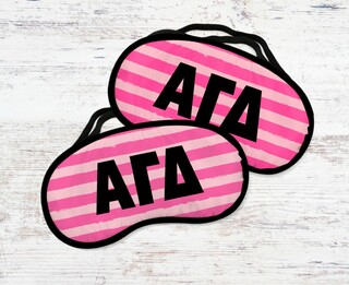 Alpha Gamma Delta Pink Stripes Eye Mask