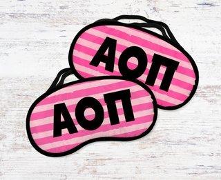 Alpha Omicron Pi Pink Stripes Eye Mask