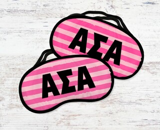 Alpha Sigma Alpha Pink Stripes Eye Mask