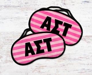 Alpha Sigma Tau Pink Stripes Eye Mask