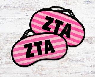 Zeta Tau Alpha Pink Stripes Eye Mask