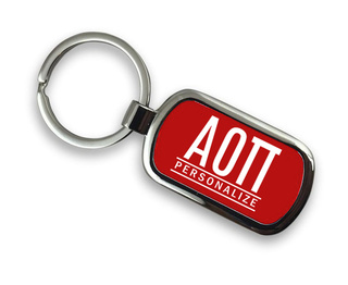 Alpha Omicron Pi Chrome Custom Keychain