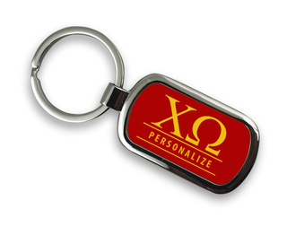 Chi Omega Chrome Custom Keychain