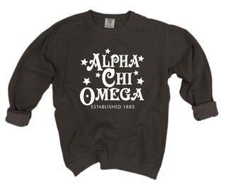 Alpha Chi Omega Comfort Colors Old School Custom Crew