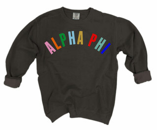 Alpha Phi Comfort Colors Rainbow Arch Crew