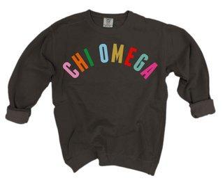 Chi Omega Comfort Colors Rainbow Arch Crew