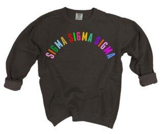 Sigma Sigma Sigma Comfort Colors Rainbow Arch Crew