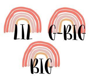 Sorority LIL, BIG or G-BIG Rainbow Decal