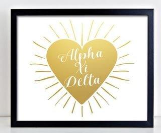 Alpha Xi Delta Heart Burst Foil Print