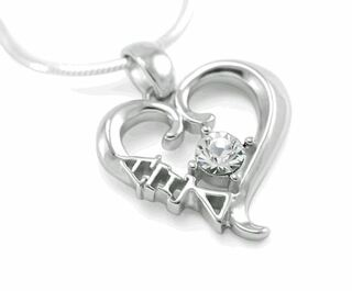 Alpha Xi Delta Sterling Silver Heart Pendant with Swarovski Clear Crystal