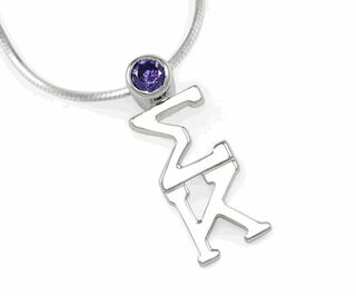 Sigma Kappa Sterling Silver Lavaliere Pendant with Swarovski� Purple Crystal