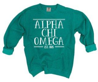 Alpha Chi Omega Comfort Colors Custom Crewneck Sweatshirt
