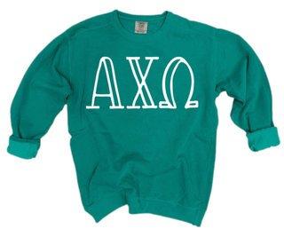 Alpha Chi Omega Comfort Colors Greek Crewneck Sweatshirt