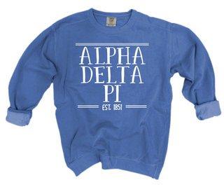 Alpha Delta Pi Comfort Colors Custom Crewneck Sweatshirt