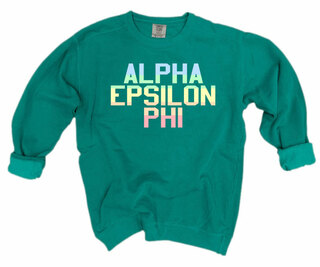 Alpha Epsilon Phi Pastel Rainbow Crew - Comfort Colors
