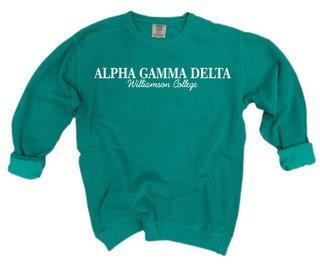 Alpha Gamma Delta Script Comfort Colors Greek Crewneck Sweatshirt