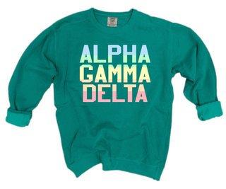 Alpha Gamma Delta Pastel Rainbow Crew - Comfort Colors
