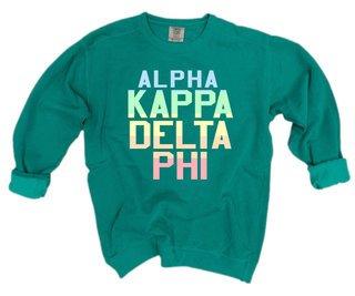 alpha Kappa Delta Phi Pastel Rainbow Crew - Comfort Colors