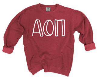 Alpha Omicron Pi Comfort Colors Greek Crewneck Sweatshirt
