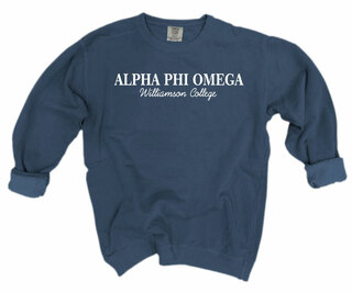 Alpha Phi Omega Script Comfort Colors Greek Crewneck Sweatshirt