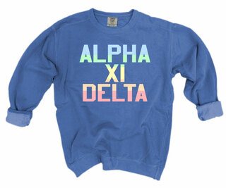 Alpha Xi Delta Pastel Rainbow Crew - Comfort Colors