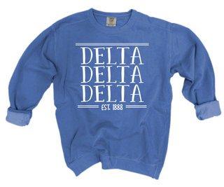 Delta Delta Delta Comfort Colors Custom Crewneck Sweatshirt
