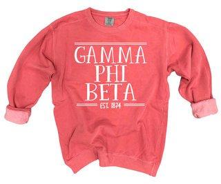 Gamma Phi Beta Comfort Colors Custom Crewneck Sweatshirt