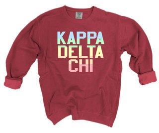 Kappa Delta Chi Pastel Rainbow Crew - Comfort Colors