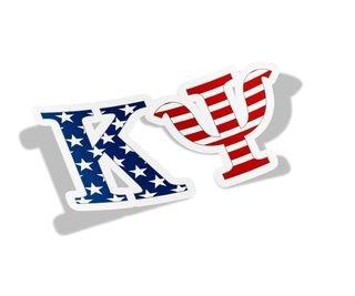"""Kappa Psi American Flag Greek Letter Sticker - 2.5"""" Tall"""