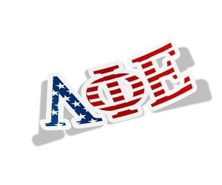 "Lambda Phi Epsilon American Flag Greek Letter Sticker - 2.5"" Tall"