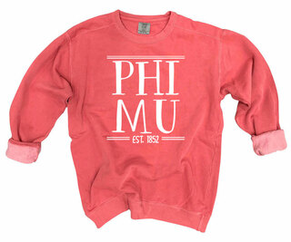Phi Mu Comfort Colors Custom Crewneck Sweatshirt