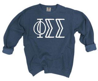 Phi Sigma Sigma Comfort Colors Greek Crewneck Sweatshirt