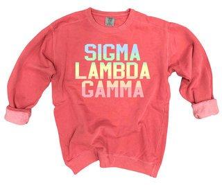 Sigma Lambda Gamma Pastel Rainbow Crew - Comfort Colors