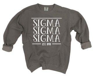 Sigma Sigma Sigma Comfort Colors Custom Crewneck Sweatshirt