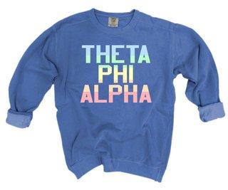 Theta Phi Alpha Pastel Rainbow Crew - Comfort Colors
