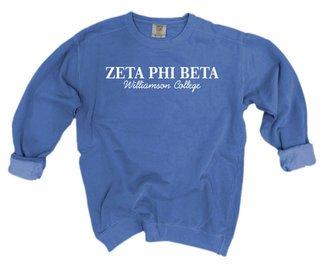 Zeta Phi Beta Script Comfort Colors Greek Crewneck Sweatshirt