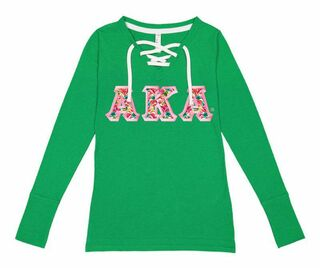 Alpha Kappa Alpha LAT - Sorority Fine Jersey Lace-Up Long Sleeve T-Shirt