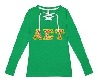 Alpha Sigma Tau LAT - Sorority Fine Jersey Lace-Up Long Sleeve T-Shirt