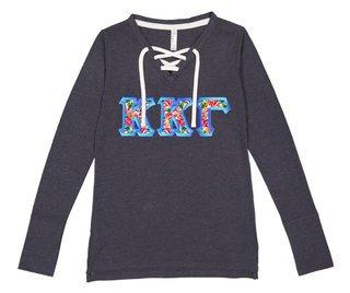 f8617dabd9dcc5 Kappa Kappa Gamma LAT - Sorority Fine Jersey Lace-Up Long Sleeve T-Shirt