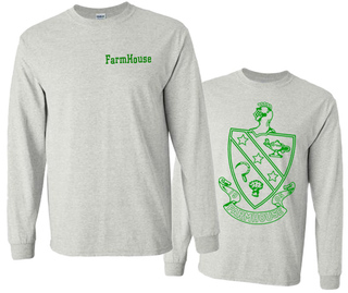 FarmHouse Fraternity World Famous Crest - Shield Long Sleeve T-Shirt- $19.95!