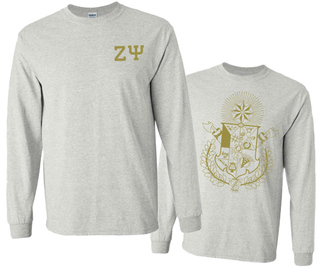 Zeta Psi World Famous Crest - Shield Long Sleeve T-Shirt- $19.95!