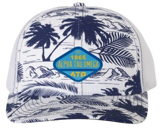 Alpha Tau Omega Island Print Snapback Trucker Cap - CLOSEOUT