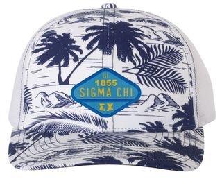 DISCOUNT-Sigma Chi Island Print Snapback Trucker Cap