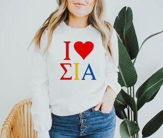 Sigma Iota Alpha I Love Crewneck Sweatshirt