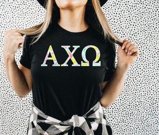 Alpha Chi Omega Lemon Zest Lettered Short Sleeve T-Shirt