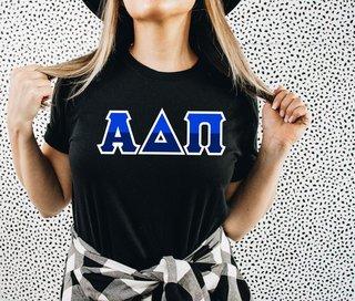 Alpha Delta Pi Two Tone Greek Lettered T-Shirt