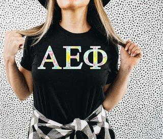 Alpha Epsilon Phi Lemon Zest Lettered Short Sleeve T-Shirt