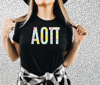 Alpha Omicron Pi Lemon Zest Lettered Short Sleeve T-Shirt
