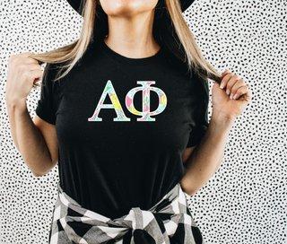 Alpha Phi Lemon Zest Lettered Short Sleeve T-Shirt